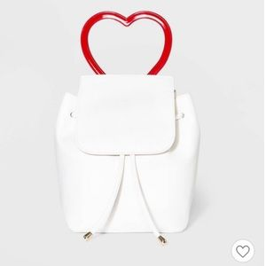 Wild Fable White Mini Flap Backpack Heart Handle